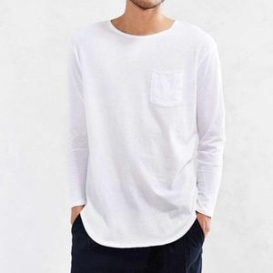 Urban Outfitters Curved Hem Pocket Long Sleeve Tee
